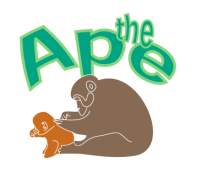 Ape logo: big ape grooms a small one