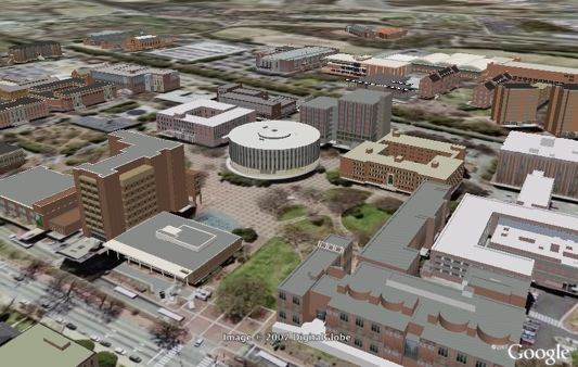 Google Earth 3D view of NCSU campus