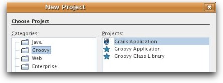 screenshot of Groovy NB project types