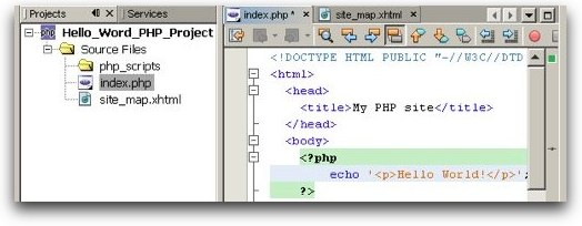 screenshot of PHP in NB editor