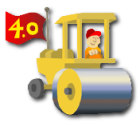 road roller flying a 4.0 flag