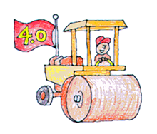 Steam roller with a a 4.0 flag